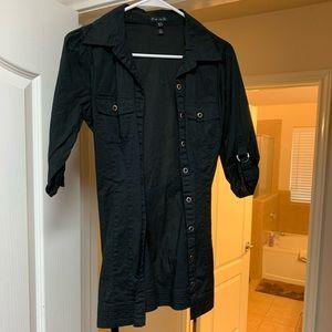 FANG 3/4 sleeve button down Black dress shirt
